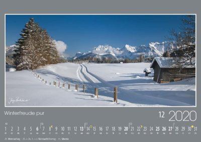 Winterfreude pur<br>Vom Hochplateau bei der Gemeinde Gerold und dem gleichnamigen See aus, ist der Blick auf das Nordkarwendel einfach grandios. Die Loipe führt hier auf die Vogelkarspitze zu, weiter rechts folgen Wörner, Tiefkarspitze und Westliche Karwendelspitze.